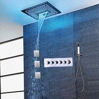 High Flow banheiro Massagem Duche de Jacto Set Painel torneira termostática água Mixer LED teto da cabeça de chuveiro Rainfall Cachoeira Misty Bath Shower