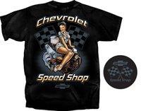 Männer T-Shirts 2021 Sommer cool T-Shirt Chevrolet Speed Shop Pin-up-Mädchen-T-Shirt ~ Black ~ Race-Flaggen Kleiner Block-Motor lustiges T-Shirt