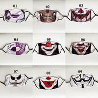 Palyaço Yüz Maskesi Toz Yıkanabilir Ağız Yeniden kullanılabilir Koruyucu Çocuk Yetişkin Moda Kumaş Shield PM2.5 Cadılar Bayramı Komik Kafatası Parti Maskesi