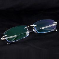 أزياء النظارات الشمسية إطارات الرجال الماس التشذيب نظارات سبيكة placless وصفة الرجال بدون شفة