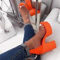 Сиддонс PVC Transparent лета женщин платформы сандалии с открытым мыском Zipper Sexy Коренастый Высокие каблуки дамы партии обувь Женщины сандалии