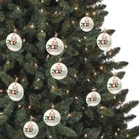 1 2 3 4 5 6 7 개 목재 크리스마스 트리 펜던트 크리스마스 장식 CCA12571의 500PCS의 2020 검역소 크리스마스 장식 개인화 가족