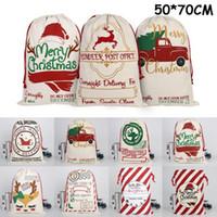 Noël Santa Santa Sacs Toile Sacs en coton Grandes sacs de cadeau de cordon lourd organique bio Personnalisé Festival Fête Décoration de Noël 2020 MZY