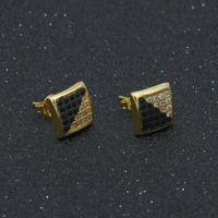 الرجال الهيب هوب أقراط مطلية بالذهب كامل الماس يثلج خارجا مجوهرات مثقوب القرط مربط فاخرة اكسسوارات الحزب
