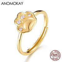 Anomokay New Arrivals nette Katze mit weißem Zircon-Goldfarbe überzogen Ringe reales Silber 925 Adjustable Ring für Frauen-Mädchen-Geschenk