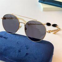 أحدث تصميم الساخن بيع الأزياء نظارات شمس 0725 جولة الإطار المعدني الكامل المعابد على شكل سلسلة أعلى جودة حماية UV400