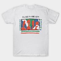 話すヘッド - 黄色いTシャツの話す頭部TシャツスピーキングバンドCBGB Eno Brian David 8ies Yellow Rock