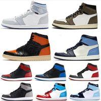 الرجال أحذية كرة السلة 1S عالية أوغ jumpman 1 حجر السج الملكي تو خفيفة دخان رمادي UNC التعادل صبغ الحرير الأفعى شيكاغو الرجال النساء أحذية رياضية