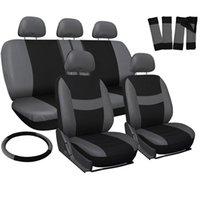 Winsun Four Seasons Universal 5 Encostos Plano Cloth Car Seat Tampa 10 Piece Set Preto Cinzento