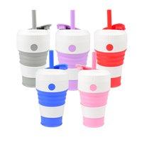 Tasse à café en silicone en silicone pliant de paille pour extérieur portable 450 ml de gobelets d'eau BPA gel de silice pliable gel de silice