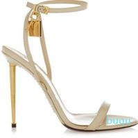 Caliente de la venta que la plata del oro de cuero tacones altos sandalias gladiador de la correa del tobillo del candado bombas de las mujeres del dedo del pie abierto de metal Tacones Zapatos de mujer
