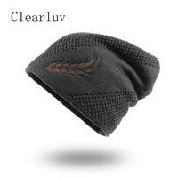 2020 Punto Sombreros de moda otoño invierno del sombrero de los hombres de sombrero grueso y caliente y Bonnet Skullies Beanie suave de punto de algodón Gorros