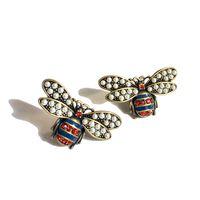 Luxusdesigner Schmuck Frauen Bolzen Insekt Honeybeige Ohrringe Kupfer mit vergoldetem Mode Retro Perle Hoop Ohrringe für Party Bijoux Geschenk