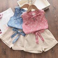 Menoea Девочки Одежда наборы лето Cute Kid Одежда Девушка Цветочные рукавов лук жилет + шорты 2PCS Set Casual Детская одежда