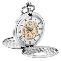Retro Weinlese-silberne Taschen-Uhr-Mann-Frauen Handwinding mechanische Uhr Skeleton Doppel Hunter Anhänger FOB Kette Reloj de bolsillo
