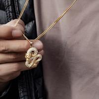 Mens Hip Hop Zircon Drache-Anhänger-Halsketten für Männer Frauen Iced Out Tennis Goldkette Opulente Halskette Punk Schmuck Geschenke