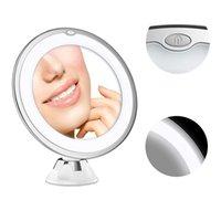 Miroir à loupe 10x avec lumières, miroir d'éclairage blanc, interrupteur intelligent, rotation à 360 degrés, ventouse puissante, maquillage portable Le