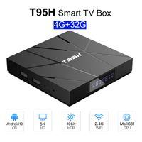 T95H Android Uzaktan Kumanda ile 10.0 Smart TV Box 4GB RAM 32GB 64GB ROM Allwinnner H616 2.4G wifi 6K HD Kod Hediye