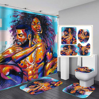 Banheiro de cortinas de chuveiro engraçado conjuntos de chuveiro conjunto com esteira de tapete em forma de U conjunto de toalete 180x180cm cortina extra longo chuveiro