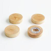 空白のDIYの木製の丸形のびんオープナーコースター冷蔵庫の磁気装飾ビールのびんオープナー