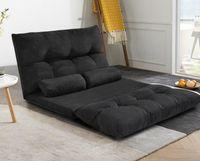 US STOCK ORI FUR. Canapé-lit pliant réglable Futon jeu vidéo Sofa Lounge Sofa avec deux oreillers Noir WF015436BAA