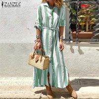 Été rayé de la mode Femmes Robe ZANZEA Maxi Robe Femme manches longues Chemise femme Vestidos Robe causales Feme surdimensionné 5XL