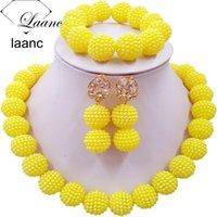 مجوهرات Laanc الأصفر مقلد حبات اللؤلؤ أفريقيا مجموعة النيجيري الزفاف قلادة SP1R012 Y200810