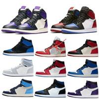 New Basketball Sapatos Jumpman 1 1s OG Alta Tóquio Bio Hack Iridescente Reflexivo Royal Royal Chicago Toe Obsidian Sneakers Basketball Unc