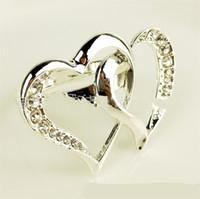 Bague de serviette en forme de cœur en forme de serviette strass titulaire de métal de métaux de cristaux Boucle Mariages de mariages Party Hôtel Banquet Display 6 2BG C2