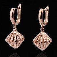 Saplama Uzun Küpe Kadınlar Için Benzersiz Güzel Düğün Basit Moda Takı 585 Rose Gold