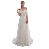 Apliques de novia blanco marfil vestidos de novia vestidos de novia de encaje medias mangas tribunal tren vestidos de bata de mariée