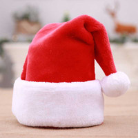 1Pc Christmas Hat 48*30cm Red Plush Cloth Top Grade Fabric T...