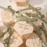 Düğün Bebek Doğum Günü Misafirler Olay Elmo Parti Malzemeleri için 20pcs Yeni Altıgen Düğün Favor ve Tatlı Hediye Çanta Şeker Kutusu