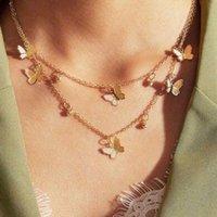 Bohemian Mehrschichtige Runde Ball Schmetterling Halskette für Frauen Goldfarbe Claviclekette 2020 Mode Weiblichen Halsband Schmuck