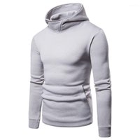 Solid Hoodies Spring Autumn Male Casual Sweatshirts Tops Long Sleeved Clothes for Hommes Mens
