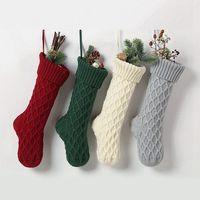 Chaussettes tricotées en acrylique de Noël Vert Vert Gris Gris Gris Stocking Arbre de Noël Arbre de Noël Suspension Chaussette de cadeau de Noël Fête de Noël Bas Candy Eea1872