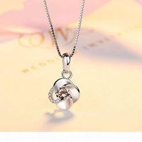 Collier en argent pour femme diamant incrusté Rotary Pendentif Japon et la Corée du Sud Simple Edition Clavicule Argent chaîne Argent 925 accesseur