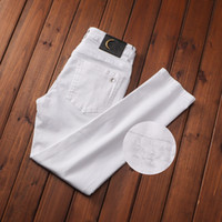 Son Listin Lüks Designe Mens Jeans Yıkanmış Dikiş Quadrila Tasarım Rahat Siyah Ince Bacak Hafif Streç Denim Skinny Jean S Pantolon W29-38
