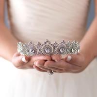 مجوهرات جديدة النمط الغربي الزفاف التاج العصابة رائع كريستال العروس غطاء الرأس إكسسوارات الشعر الزفاف التيجان الشعر حزب هدية