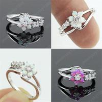Kadınlar Moda Temizle Zirkon Kristal Düğün nişan yüzüğü için 925 Gümüş Kaplama El Yapımı Opal Çiçek Yüzük