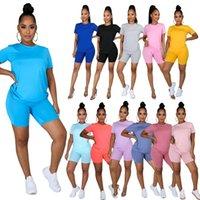 Mujeres diseñadores Ropa 2021 Pantalones casuales Casas Color Sólido Cuello redondo Cuello redondo Pantalones cortos ST-5XL de dos piezas