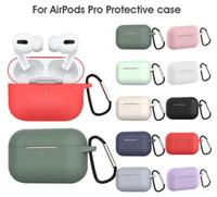 DHL 100 pcs novo caso de silicone líquido espesso à prova d'água para a Apple Airpods Pro com fivela de metal 12 cores opcionais Earpbuds Case