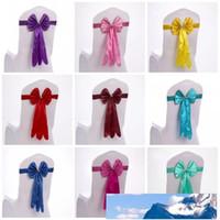 Satin Chaise élégante couverture facile à nettoyer mariage fournitures Décoration longue style Bow Tie Forme Chaises Jupettes Vente chaude 2 5sk PAR