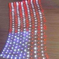 Флаг светодиодные фонари с 420LED Струнный лампы, 6,6 х 3,3 футов Водонепроницаемый Флаг США Чистые огни Открытый Освещенные Светодиодные полосы света