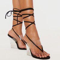 Сандалии Siddons Fashion PVC Прозрачные Женщины Клинья Клип Toe V-образным вырезом Дизайнерская Обувь Женщина Лодыжка Кружева Очистить Высокие каблуки