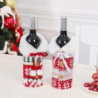 Nouveau Noël vin couverture avec Bow Elk Snowflake bouteille Knit vêtements bouteille de vin couverture de Noël Sac de vin Ornement Décoration de Noël CYZ2744