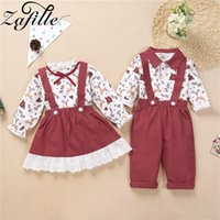 ZAFILLE Christmas Clothes Set Sister and Brother Outfits Christmas Toddler Girl Set Boy Overall For Kids Clothes For Girl 0926