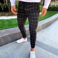 Street Fashion Men Casual Plaid Print Drawstringgummiband Taille Lange Hosen-Hose Pantalones Hombre Cargo Pants Men