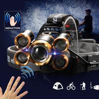 Mächtigster LED-Scheinwerfer-Scheinwerfer-Scheinwerfer 5LED T6-Head-Lampe Power-Taschenlampe Fackelkopflicht am besten für Camping, Angeln