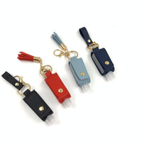 Hand Sanitizer Bottle Cover PU Leather Tassel Keychain Holder Protable Keyring Cover Storage Bags Home Storage Bag Without Bottle DHC4348